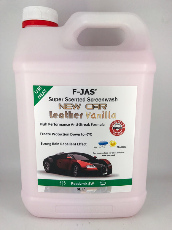 Super Scented Screenwash (5L Readymix, New Car Leather & Vanilla)
