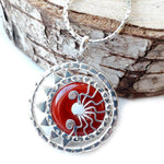Carnelian Eclipse Pendant in Handcrafted Silver
