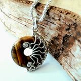 Small Tiger eye Silver Fossil pendant