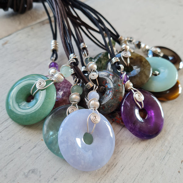 Large spiral rock pendants
