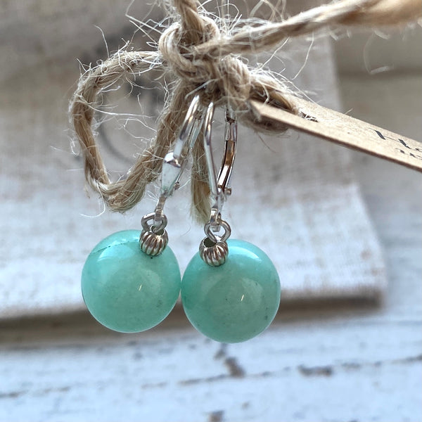 Amazonite ball drop earrings