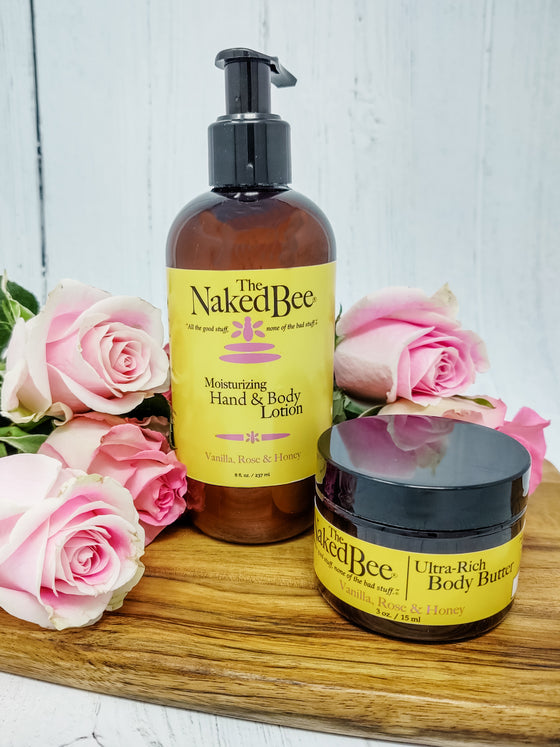 8 oz. Vanilla. Rose & Honey Hand & Lotion - The Naked Bee