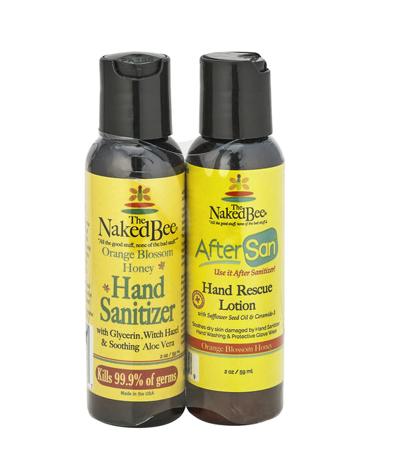 2 oz. Orange Blossom Honey Hand Sanitizer & AfterSan Duo - The Naked Bee