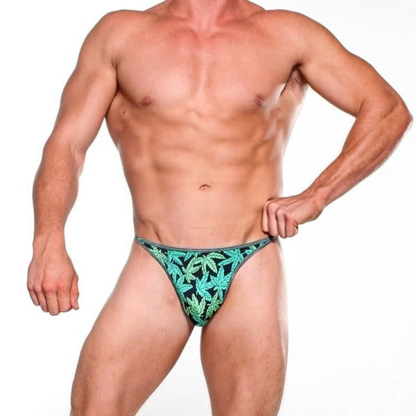Bitsys Bikinis Mens Micro G-String Bikini - Green Kush With Dark String