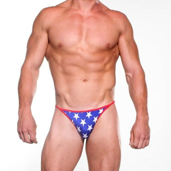 Bitsys Bikinis Mens Sexy Scrunch Butt Bikini - Extreme Micro Swimwear- Patriotic Blue And White Stars With Red String