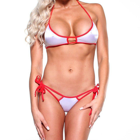 Bitsy's Bikinis Scrunch Butt Double Strap - Solid White - Red String