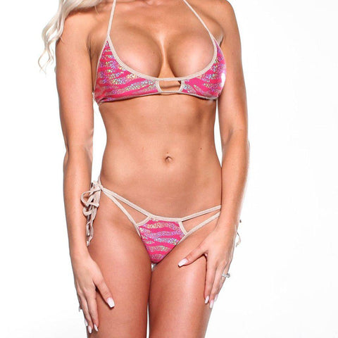 Bitsy's Bikinis Scrunch Butt Double Strap-Holographic Pink Animal-Beige String
