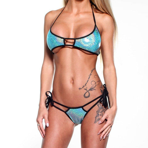 Bitsy's Bikinis Scrunch Butt Double Strap - Holographic Green - Black String