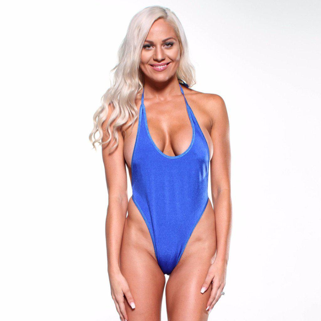 Sexy Model in Bitsy's Bikinis Monokini G-String - Solid Electric Blue