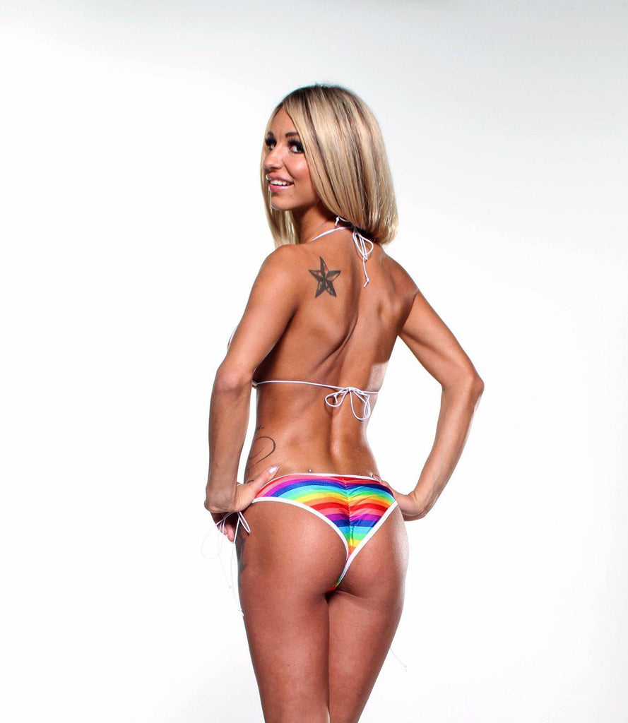 6df8dd797e9 Scrunch Butt Two Piece - Rainbow Stripe - White Cord. $ 29.99. Brand Bitsy's  Bikinis