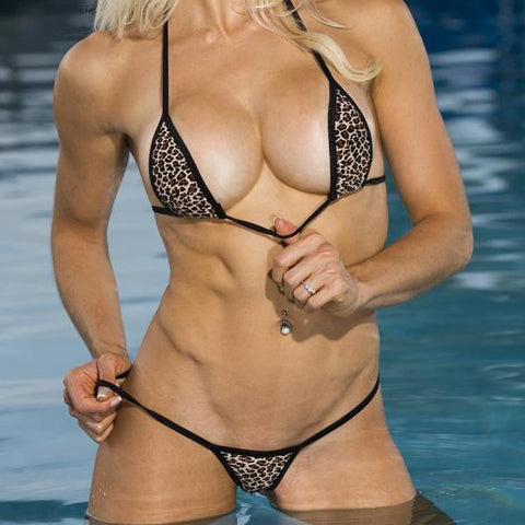 Model in Bitsy's Bikinis Micro Bikini G-String - Mini Brown Leopard - Black String