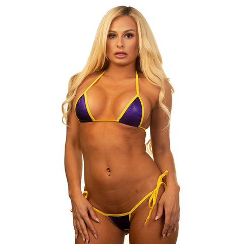Sexy Model in Bitsy's Bikinis Micro Tie Side Thong Bikini -Holographic Purple-Yellow String