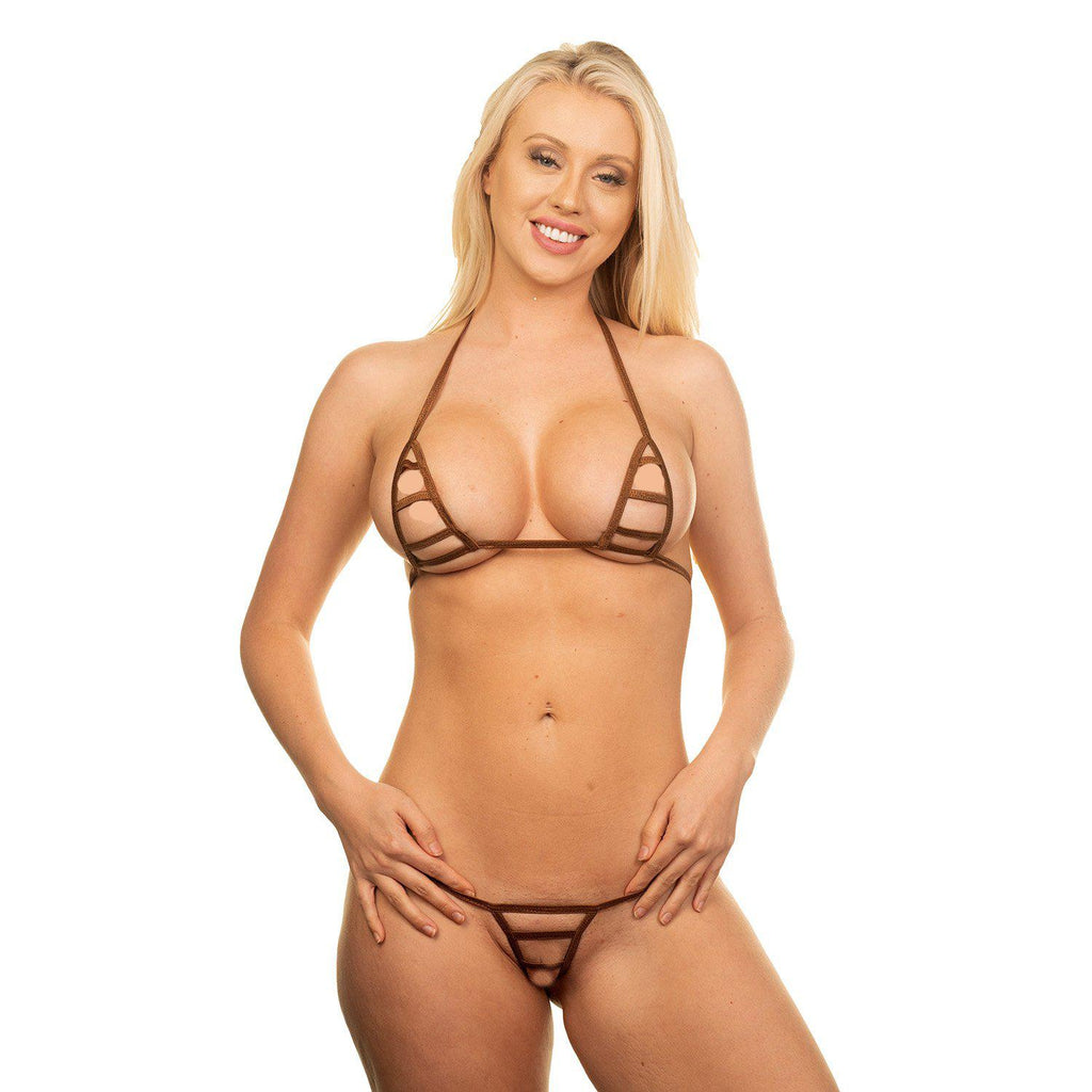 Model in the Micro Bikini String Only - Brown - Bitsy's Bikinis - Extreme Bikini