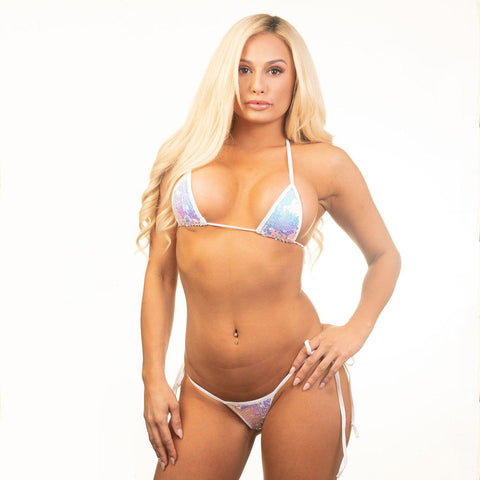 Sexy Model Haley in Bitsy's Bikinis Micro Tie Side Thong - Iridescent Sequin -White String - Front