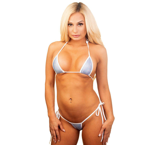 Model in the Cheeky Bikini - Holographic Ice Blue - White String - Bitsy's Bikinis