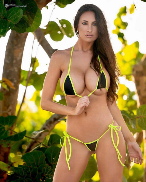 Micro Tie Side Thong- Black - Neon Yellow