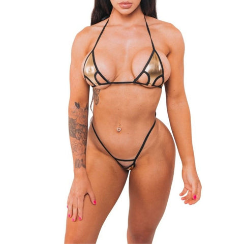 Arrow Peekaboo Bikini - Gold Foil - Black