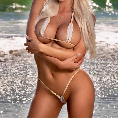 Sexy Model on the Beach in Bitsy's Bikinis Zipper Extreme Bikini - Platinum - Beige String