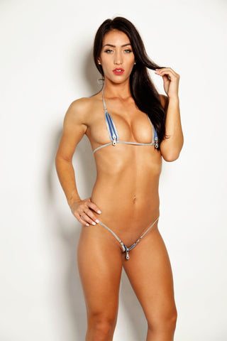 Bitsy's Bikinis Electric Blue Silver Zipper Micro G String Zipper Extreme Bikini - Open Exposed