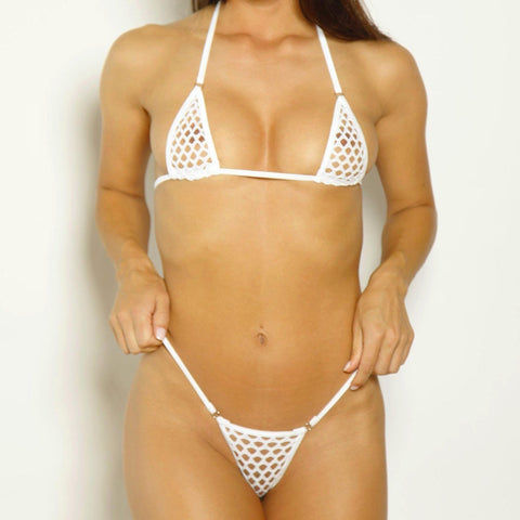 Scrunch Butt Three Piece - Athletic White Fishnet-White - Rings