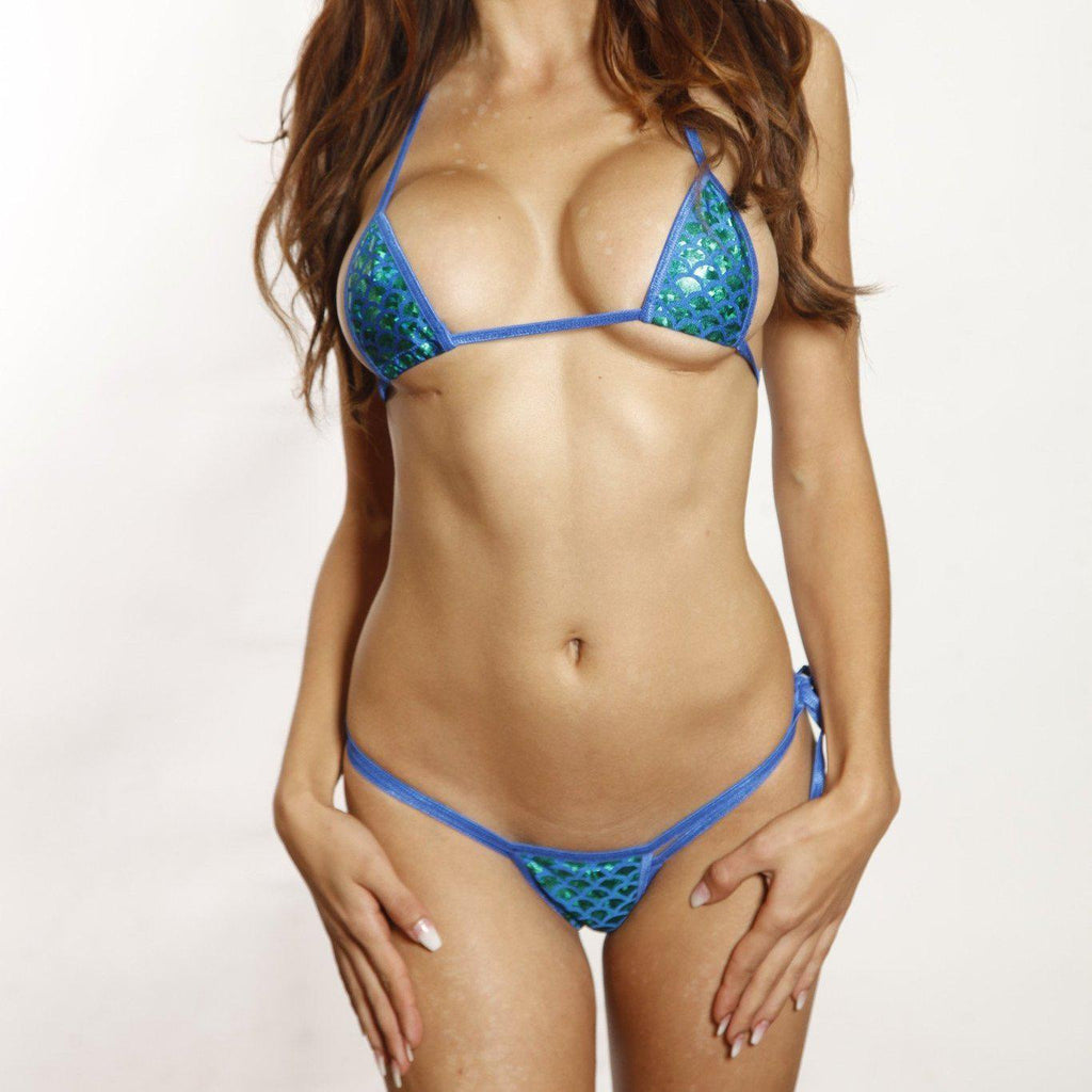 Sexy Model in Bitsy's Bikinis Scrunch Butt Two Piece - Green Mermaid - Electric Blue