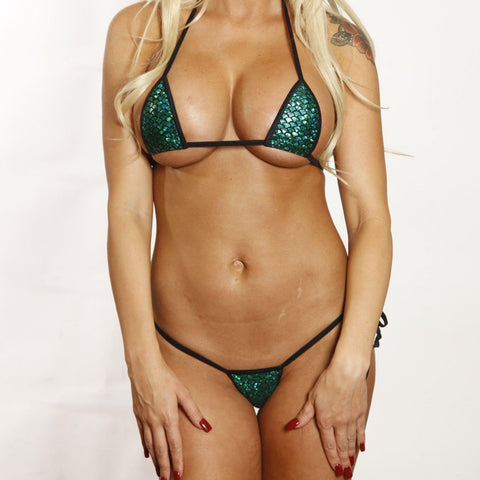 Micro Tie Side Thong - Holographic Green Mermaid