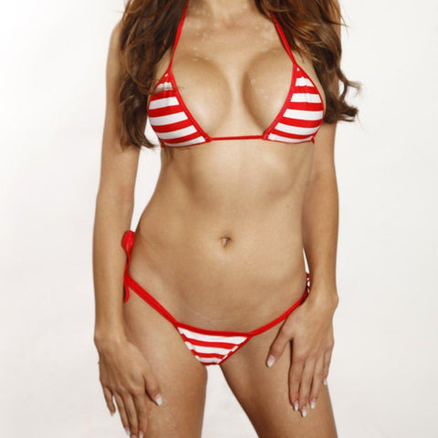 Sexy Model in Bitsy's Bikinis Scrunch Butt Two Piece - Red & White Striped - Red String