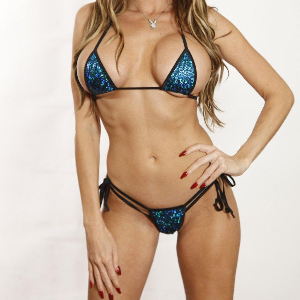 Bitsys Bikinis Bikini Sparkly-Blue-Mermaid-Sexy-Scrunch-Butt-Bikini-3Pc-Micro-Bottom-W-Black-String