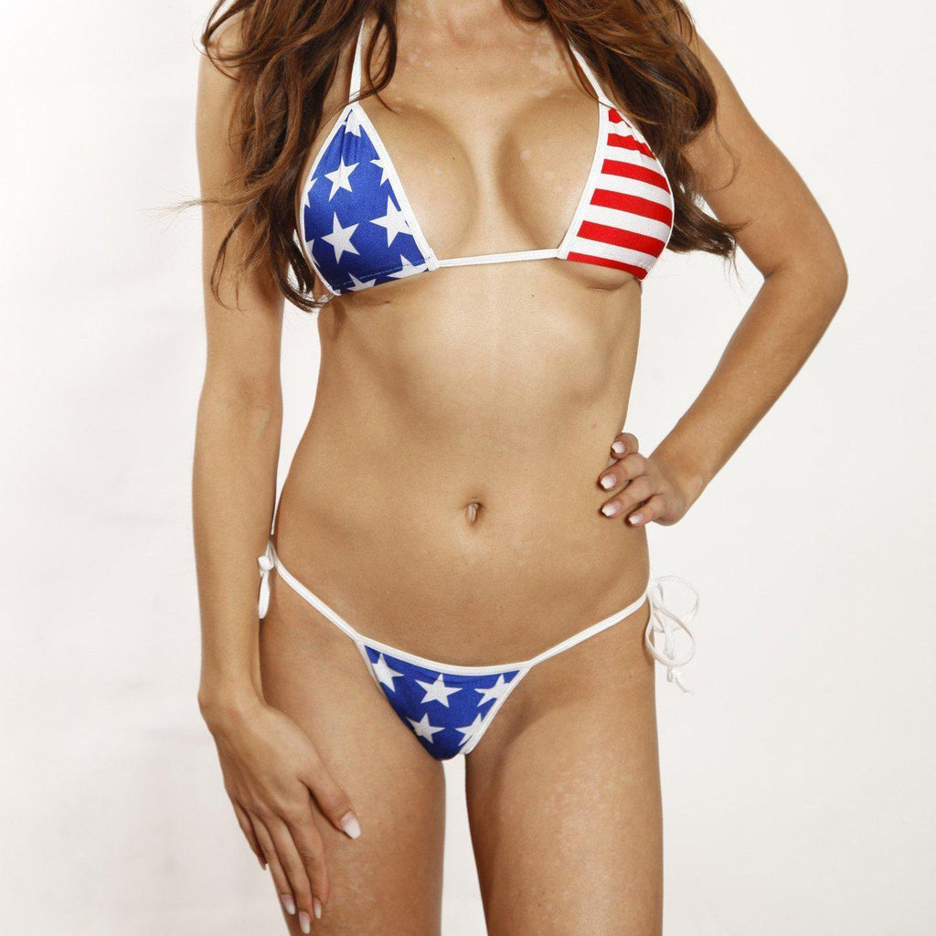 Sexy Model in Bitsy's Bikinis Scrunch Butt Two Piece-Patriotic Stars & Stripes-White