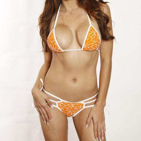 Sexy Model in Bitsy's Bikinis Scrunch Butt Bikini Triple Strap - Orange Giraffe - White String