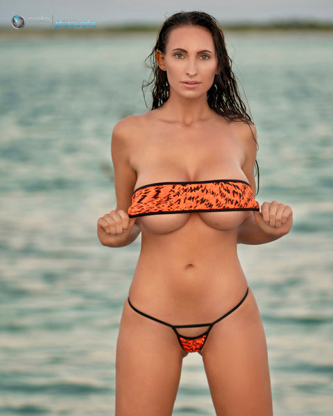 Bandeau Bikini - Orange and Black Animal Print w Peek Micro G - Black