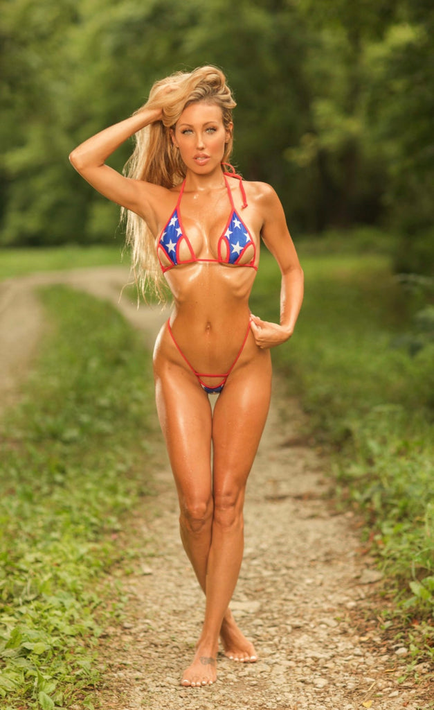Arrow Peekaboo Bikini - Patriotic Stars - Red