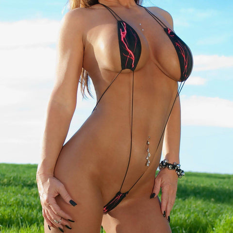 Black with Red Lightning Monokini Teardrop Bikini Slingshot Micro G-String One Piece with Cord Strings