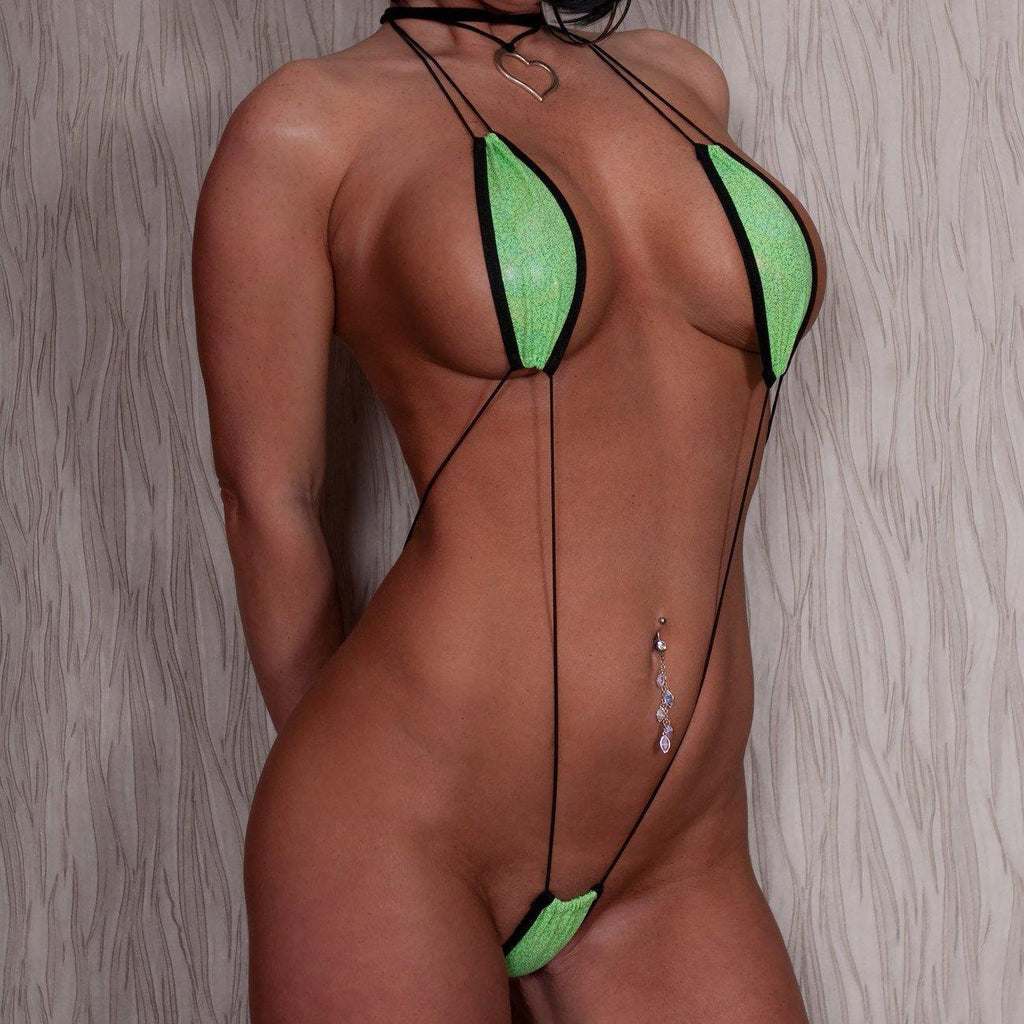 Sparkly Green Sexy Monokini Teardrop Bikini Slingshot Micro G-String One Piece with Black Cord