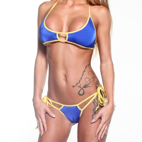 Bitsys Bikinis Bikini Scrunch-Butt-Double-Strap-Electric-Blue-Yellow-String