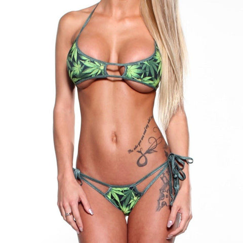 Bitsys Bikinis Bikini Scrunch-Butt-Double-Strap-Pot-Dark-Green-String