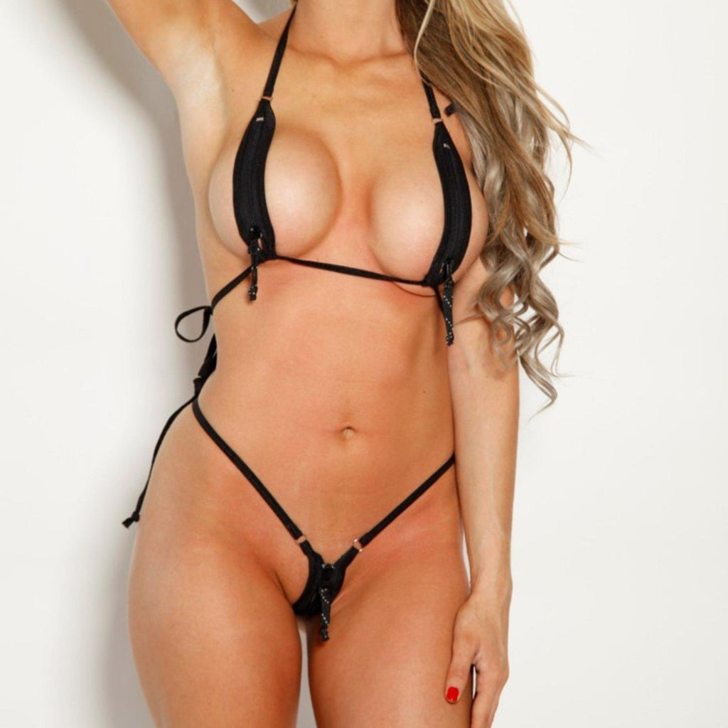 Bitsys Bikinis Bikini Black-Zipper-Extreme-Micro-Bikini-Silver-Rings-Open-Exposed-Zip-Down