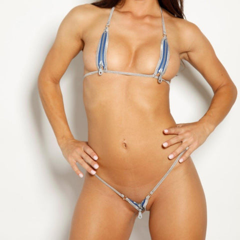 Bitsys Bikinis Bikini Zipper-Electric-Blue-Silver-String