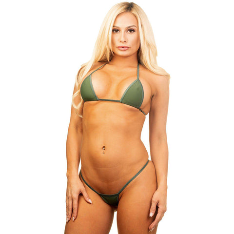 Model in Bitsy's Bikinis Micro Bikini G-String - Solid Army Green