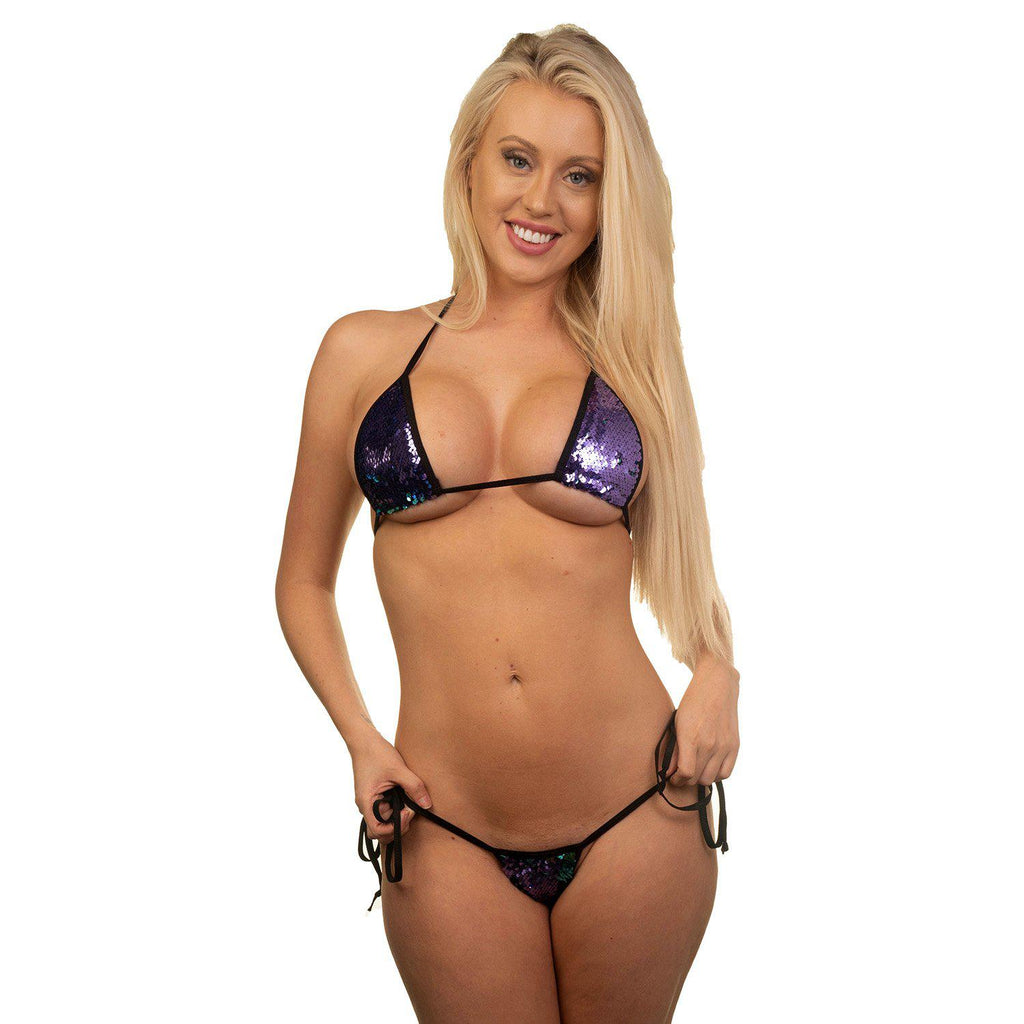 Sexy Bikini Model Emma in Bitsy's Bikinis Micro Bikini Tie Side Thong - Hollywood Purple Sequin
