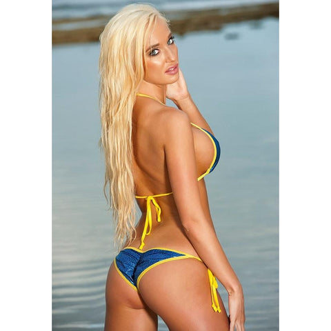 Sparkly Blue Scrunch Butt Bikini 2 Piece Brazilian Cheeky Bottom Sliding Triangle Top Yellow String