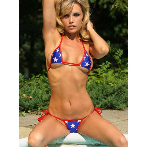 Patriotic Small Scrunch Butt Bikini 3pc Mesh Brazilian Bottom Triangle Top Micro G-String Red White Blue