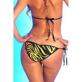 Yellow Animal Stripes Scrunch Butt Bikini - 2pc Brazilian Bottom Bikini - Micro Bikini - Pucker Bottom - swimsuit