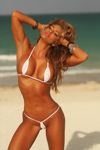 Sexy model in Bitsy's Bikinis Solid White Teardrop Micro G String Extreme Bikini-Ships Worldwide