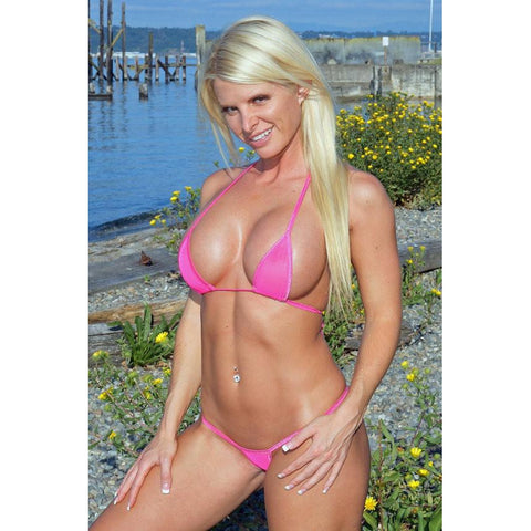 Solid Neon Pink Mesh Small Scrunch Bikini 3pc Brazilian Bottom Triangle Top G-String See Through