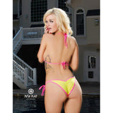 Solid Yellow w Neon Pink Scrunch Butt Bikini 2 Piece Triangle Top Cheeky Ruched Bottom