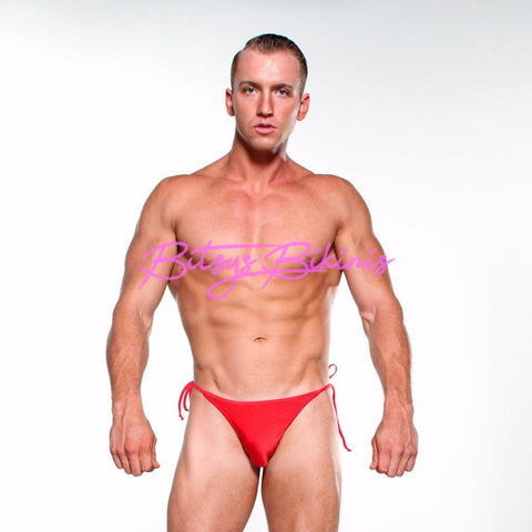 Bitsys Bikinis Bikini Mens-Solid-Red-Sexy-Tie-Side-Thong-Bikini-Bottom-Micro-Swimwear-Swimsuit-With-Red-String