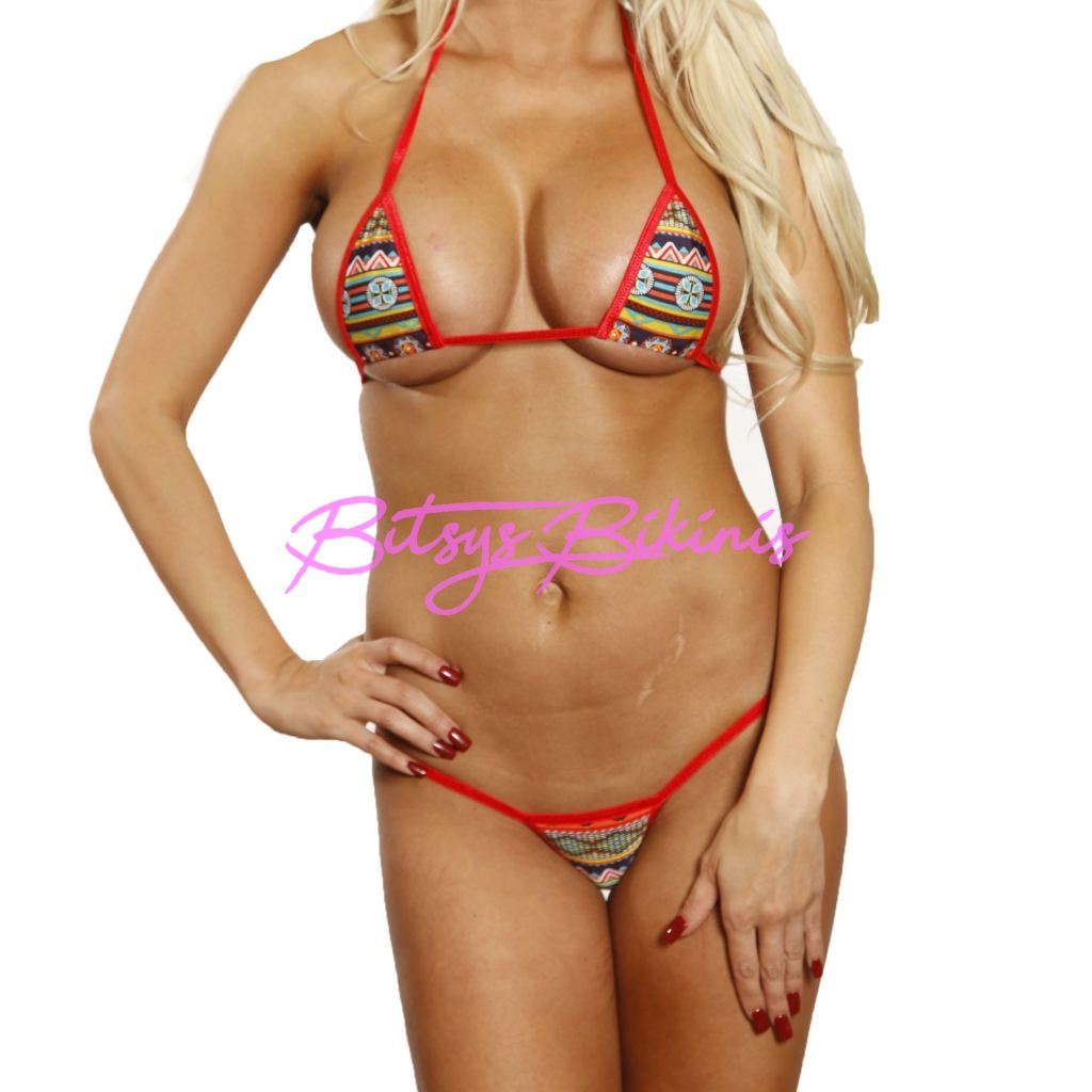 Bitsys Bikinis Bikini Bitsys-Bikinis-Red-Aztec-Sexy-Micro-G-String-Bikini-2Pc-Extreme-Adjustable-Triangle-Top-Mini-Thong