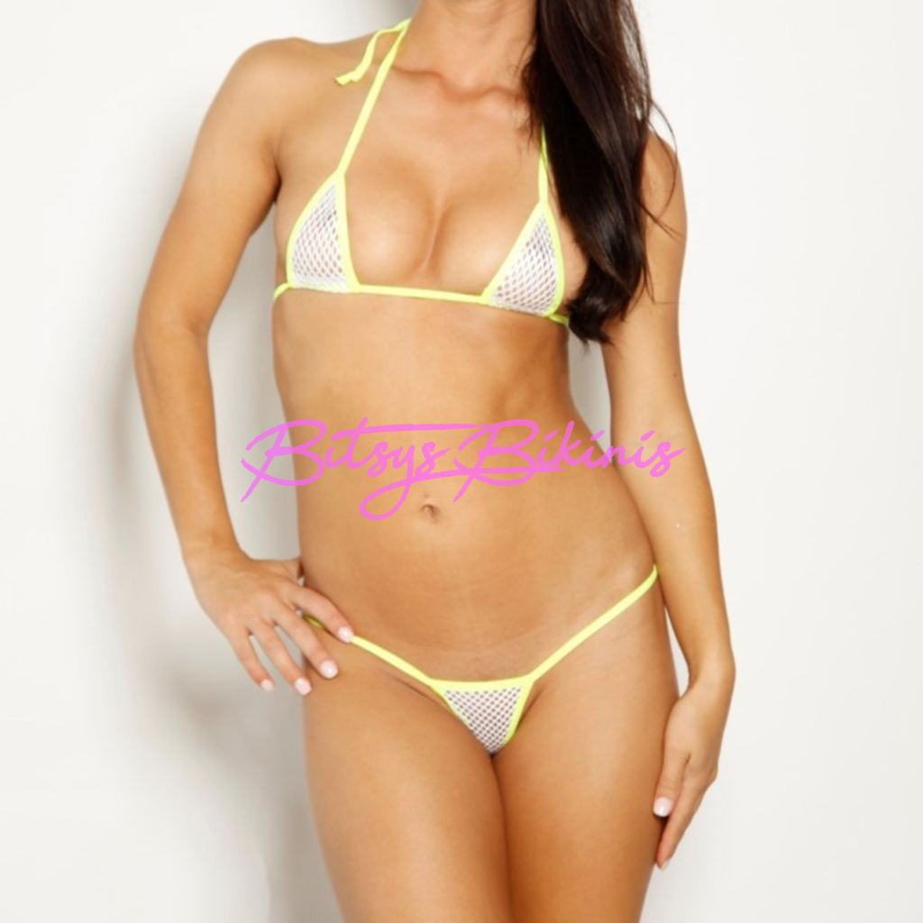 Bitsys Bikinis Bikini Micro-G-String-White-Athletic-Fishnet-Neon-Yellow-String