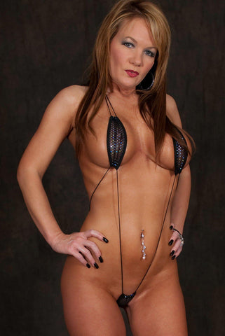 Sparkly Black Mesh Monokini Teardrop Bikini Slingshot Micro G-String One Piece - See Through with Cord Strings